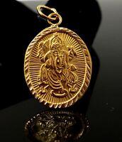 22k 22ct Solid Gold SHRI GANESH GANPATI IDOL Hindu Religious pendant p1034 ns