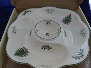 Spode Christmas Tree Daisy Crudite Vegetable Veggie Server Platter Chip Dip Bowl