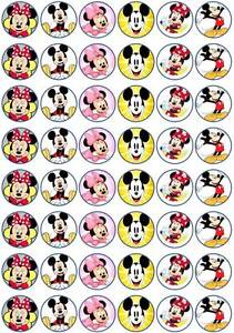 48 X 3 CM MICKEY AND MINNIE EDIBLE RICE PAPER CUPCAKE/FAIRY CAKE TOPPERS