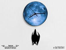 Halloween Sleeping Bat Swinging on Moon - Pendulum Wall Clock
