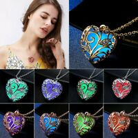 Magical Glow In The Dark Heart Pendant Necklace Luminous Women Jewellery Gift