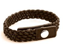 Design - Tribal steel Da uomo pelle marrone & Acciaio inox bracciale intrecciato