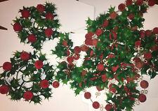 Vtg Lot Plastic Blow Mold Flocked Christmas Tree Garland Holly Berry Balls Apple