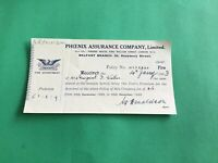 Phoenix Assurance Company Ltd Belfast 1923  Fire Department receipt R37352