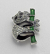 "& Enamel Panda Pin/Pendant 8.8g 1.26"" Solid Sterling Silver Swiss Marcasite"