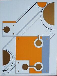 Michelangelo Conte serigrafia Composizione 31x23 firmata numerata anno 1973