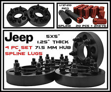 "4 Pc Black Jeep 1.25"" Thick (71.5 HubCentric) Wheel Spacers+ Red Spline Lug Nuts"