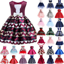 Girls Bridesmaid Dress Baby Flower Kids Party Bow Wedding Dresses Princess Gown
