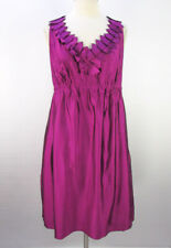 Ann Taylor LOFT Magenta Mini Dress 12 L Pleated Petal V-Neck Shiny NWT $98