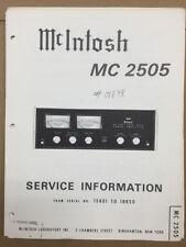 Mcintosh  MC2505 / MC 2505 Amplifier Service Manual *Original*