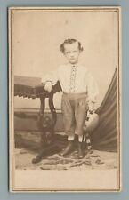 WELL DRESSED BOY CHILD, L. THOMPSON, NORWICH, CT., CIVIL WAR ERA, CDV PHOTO
