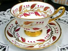 SHELLEY HAND PAINTED RED GOLD LEAF BERRY TEA CUP AND SAUCER