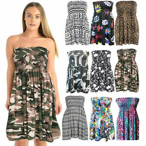 Womens Printed Sheering Boob Tube Gather Bandeau Summer Mini Dress Strapless Top