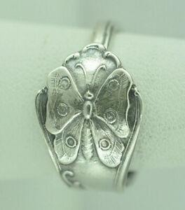 Beautiful 925 Sterling Silver Butterfly Flower Spoon Ring