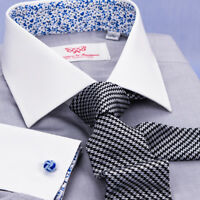 Gray Floral Dress Shirt Formal White Contrast Collar French Cuff Business Style