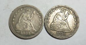 1854 1858 SEATED QUARTERS 1845 SCARTCH ON FRONT
