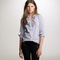 J. Crew Blue White Stripe Pattern Ruffle Neckline Long Sleeve Dress Shirt Size 4
