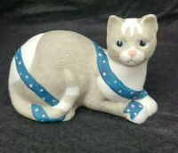 Porcelain Grey and White Cat with Blue Ribbon, Silvestri by Mary Lake Thompson