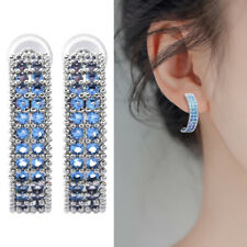 925 Silver Blue Sapphire Crystal Stud Earring Womens Fashion Jewelry Gift