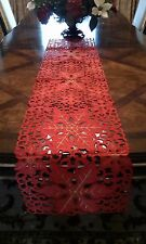 """15x52"""" Embroidered Christmas Tablecloth Cutwork Table Runner Home Party Decor"""