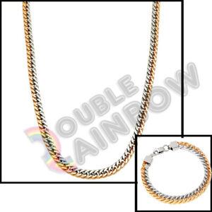 "24""Men's Stainless Steel Necklace Gold/Silver Cuban 8mm Chain w/Bracelet Set*C17"