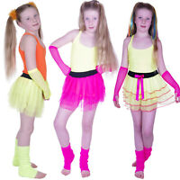 GIRLS NEON TUTU SKIRT SET LEG WARMERS FISHNET GLOVES FANCY DRESS AGE 4-12
