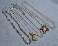 VINTAGE TO NOW ASSORTED FAUX PEARL PENDANT GOLD TONE CHAIN NECKLACE LOT