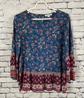 Beach Lunch Lounge Collection Floral Boho Peasant Top Size M