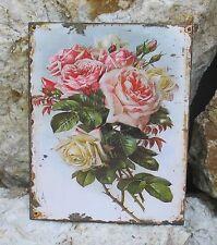 Blechbild Blechschild Wandschild Metall Rosenstrauß Wildrosen Wandbild Rosenbild