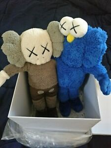 "KAWS Seeing / Watching Blue BFF Grey Companion 16"" Plush 100% Authentic NEW DS"