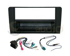 Radio Dash Kit Combo Single DIN RUBBERIZED BLACK + Wire Harness + Antenna AU57