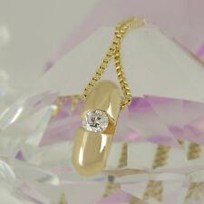 Anhänger und Kette 585 Gelbgold 14K mit 1 Diamant  0,25 ct Wesselton si - 46 cm