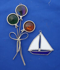 "stained glass 2½"" sail boat & 6½"" bunch of balloons Christmas ornaments"