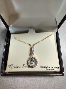 "GENUINE BLUE TOPAZ/DIAMOND 20"" NECKLACE"