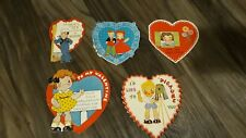 5 Vintage 1930's Die-Cut Heart Shaped Valentine Cards With And Without Writing