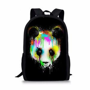 "17""Backpack Boys School Bag Bookbag Panda Designs Outdoor Travel Casual Satchel"