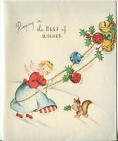 VINTAGE CHRISTMAS PRETTY BLONDE ANGEL GIRL RINGING HOLLY BELLS CAT GREETING CARD