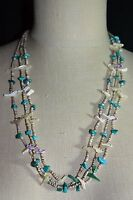 VTG Southwest Tribal Silver Tone Fetish Carved Bird Turquoise Shell Necklace E