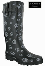 Tosh Wellingtons Dog Paw Black Tall Full Wellies Womens Originals Winter BOOTS UK 5