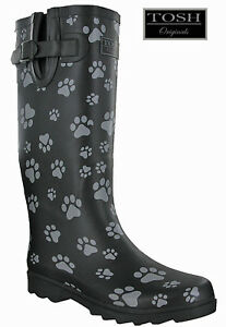 Ladies Wellingtons Dog Paw Black Tall Full Wellies Womens Winter Boots TOSH