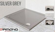 760x760 SILVER GREY Square Diamond Stone Slimline Shower Tray 40mm inc Waste