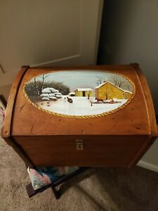 Amish Handcrafted/Handpainted Winter Scene Chest Trunk Dome Top