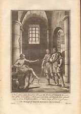 1770  ANTIQUE PRINT -BIBLE- THE MESSAGE OF JOHN THE BAPTIST TO JESUS CHRIST