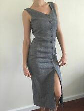 Women's ESPRIT Dress Size S Small Maxi Sleeveless Button Down Gray Classic