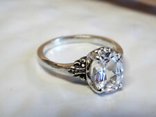 2.50ct white sapphire antique 925 sterling silver ring size 8 USA made