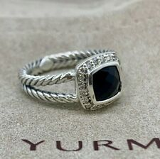 David Yurman Sterling Silver Black Onyx & Diamond Petite Albion Ring Size 7
