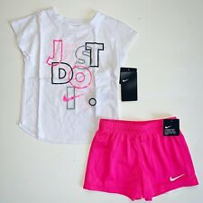 New Nike Little Girls Just Do It 2 Piece Shirt & Shorts Set Choose Size MSRP $36