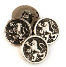 "Vintage Lot of 4 Silver Color Metal Lion Buttons .60"""