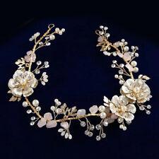 36 x 4cm Handmade Gold Flower Wedding Bridal Head Pieces Hair Band Accessories