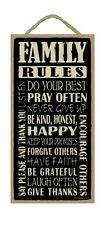 """FAMILY RULES Inspirational Primitive Wood Hanging Sign 5"""" x 10"""""""